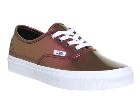 vans authentic patent leather pink unisex sports