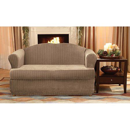 2 T Cushion Loveseat Slipcover by Sure Fit Stretch Pinstripe 2 T Cushion Loveseat