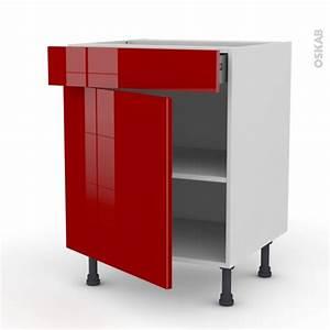 Frein De Porte De Cuisine : meuble de cuisine bas stecia rouge 1 porte 1 tiroir l60 x ~ Edinachiropracticcenter.com Idées de Décoration