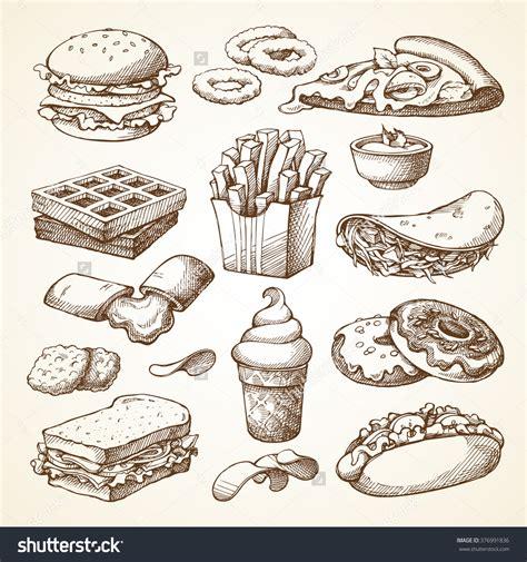 cuisine illustration set with fast food illustration sketch vector
