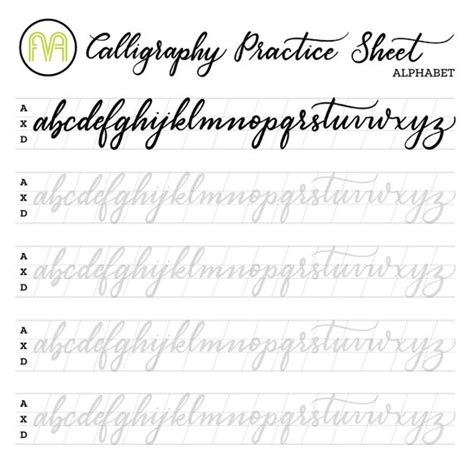 calligraphy practice sheets alphabet lettering digital etsy