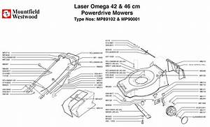 Mountfield Laser Omega 42cm And 46cm Power Drive Machine Diagram For Spare Parts Spares And