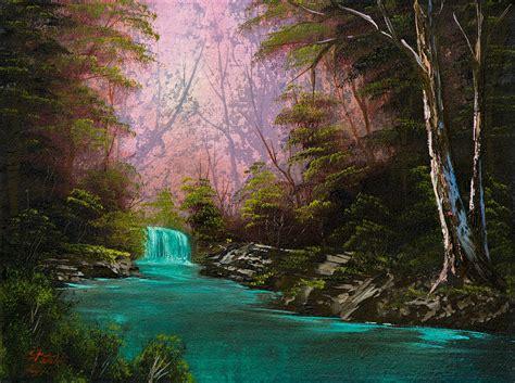 Turquoise Waterfall Painting By Chris Steele