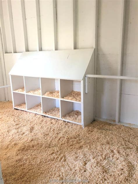 chicken coop white interior  nesting boxes reveal