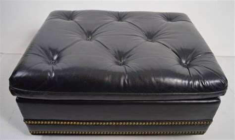 hancock and moore leather ottoman tufted leather ottoman foot rest with nail head trim by