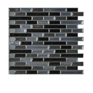 Smart Tiles Kitchen Backsplash Smart Tiles Muretto Nero 10 20 In X 9 10 In Peel And Stick Decorative Wall Tile Backsplash In