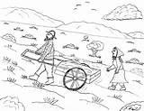 Pioneer Coloring Pioneers Plains Handcart Robin Crossing sketch template