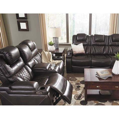 Power Reclining Loveseats With Console by Warnerton Power Reclining Console Loveseat With Adjustable