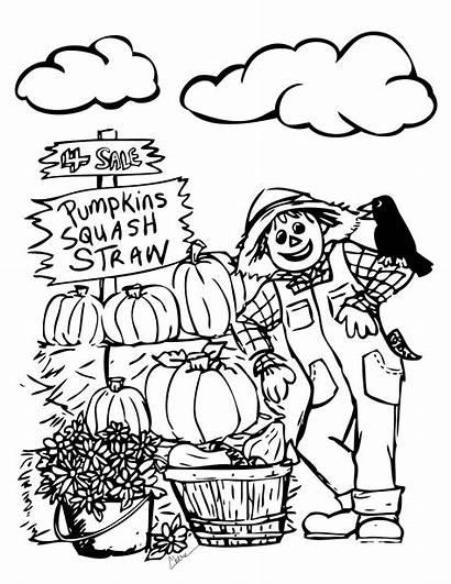 Autumn Scene Drawing Fall Coloring Printable Getdrawings