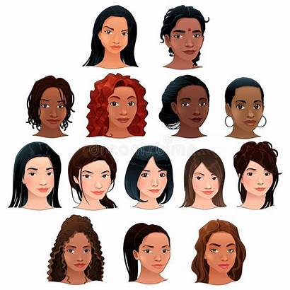 Asian Indian Latino Vector Avatars Hair Ethnic