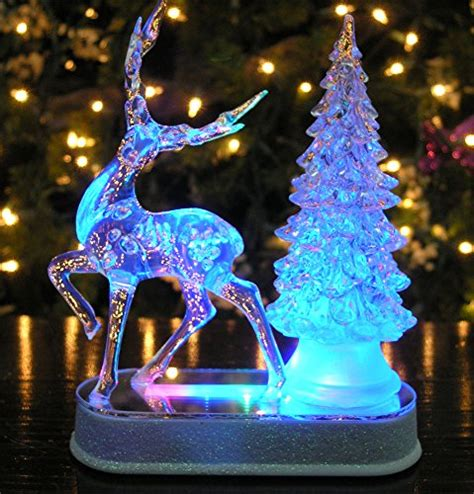 table top christmas trees with lights reindeer and christmas tree color changing acrylic table