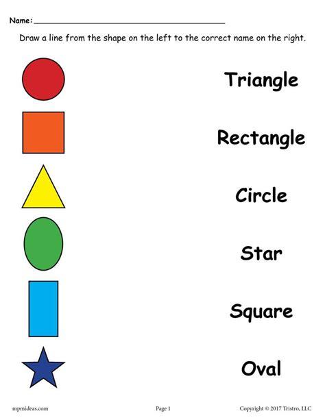 shapes matching worksheets  preschool