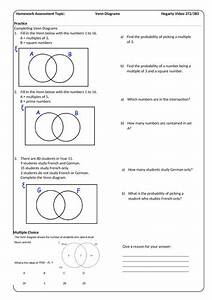 Venn Diagrams Homework Sheet With Answers