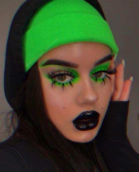 neon green aesthetic makeup ar black edgy makeup rave makeup neon makeup