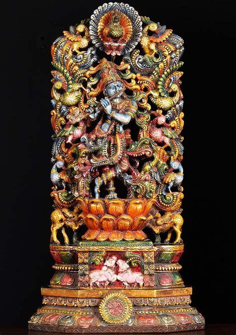 sold wood krishna peacock carving   hindu gods