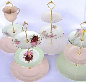 tier vintage wedding cake plate tiered stand diy heavy fitting ebay
