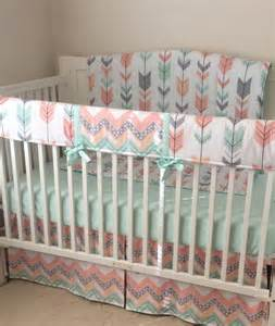 peach gray and mint arrows crib bedding bumperless set made to