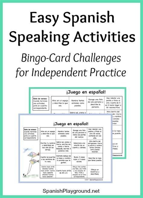 easy spanish speaking activities  independent practice