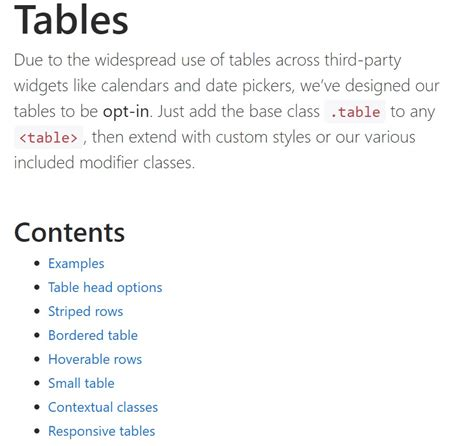 bootstrap tables styles