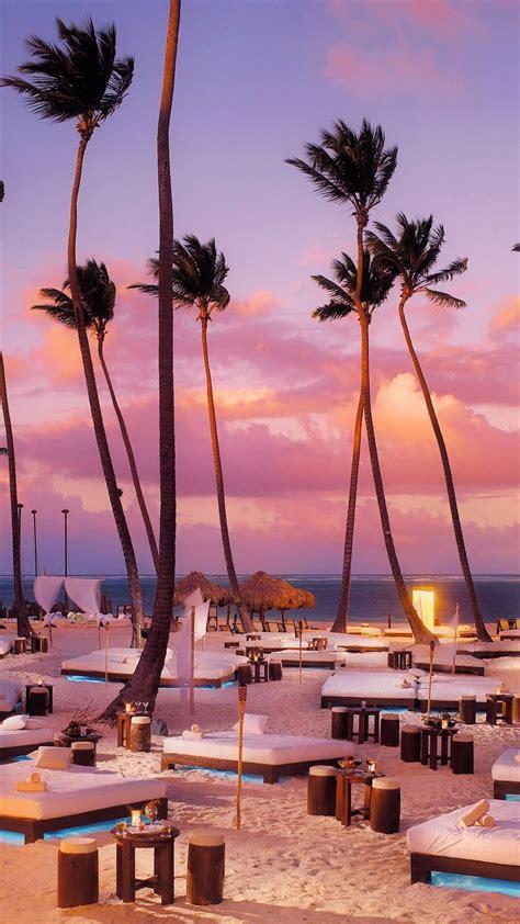 Beach sunbeds palm trees sunset iPhone X 8 7 6 5 4 3GS
