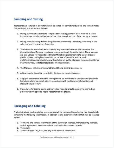 cannabis quality assurance plan quality control