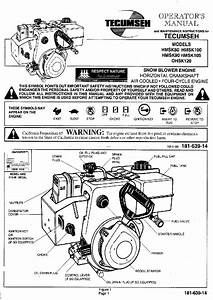 Tecumseh Hmsk90 Snow Blower Operator U0026 39 S Manual Pdf View