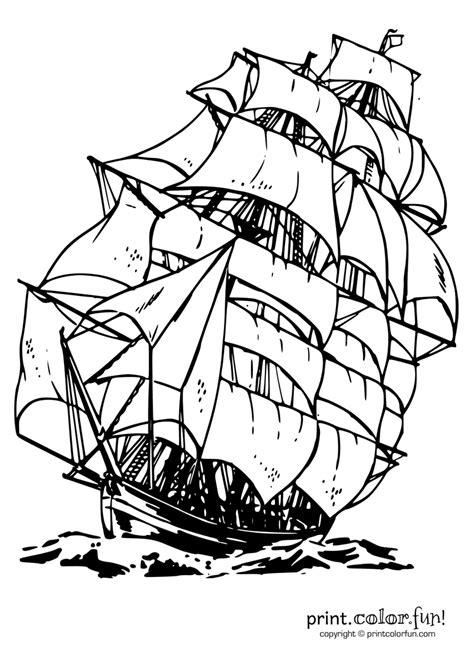 Clipper ship | Print. Color. Fun! Free printables, coloring pages, crafts, puzzles & cards to
