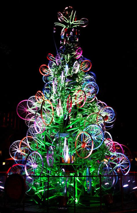 bicycle art christmas tree 20 most wacky and non traditional trees photo gallery