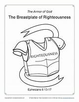 Breastplate Righteousness Coloring God Armor Pages Printable Pdf Activity Bible Lesson Simple Belt Truth Children Sunday Lessons Description sketch template