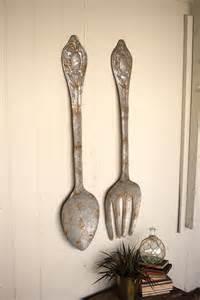 Kalalou CMN1008 Rustic Large Metal Fork and Spoon Wall Decor, Set of 2
