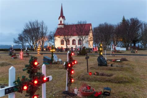 church graveyard christmas south west iceland stock photo