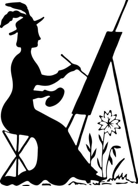 Silhouette Stock Image - Lady Painting - The Graphics Fairy