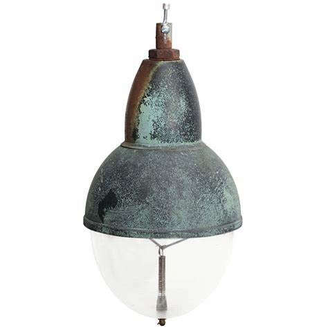 vintage copper pendant light with glass shade at 1stdibs