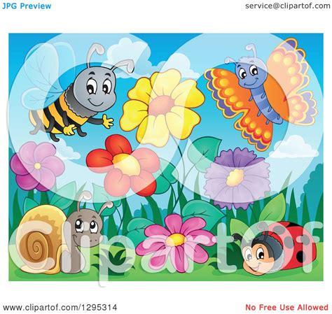 clipart of a flower garden with a happy bee
