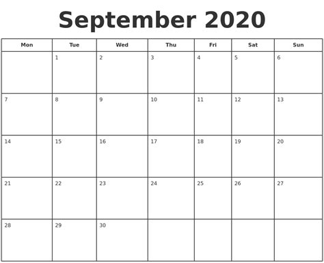 september  print  calendar