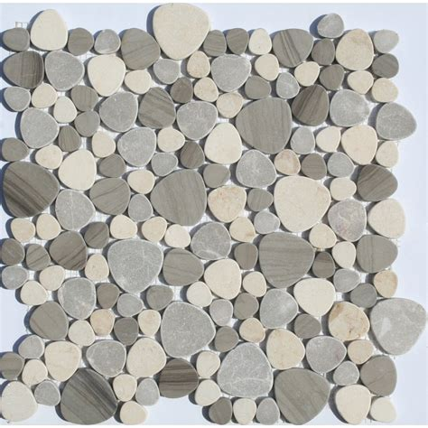 home depot bathrooms design faber 13 in x 13 in sand dune pebbles blends mosaic wall