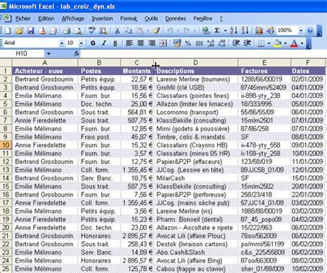 liste fourniture de bureau lilapuce tableau croisé dynamique excel