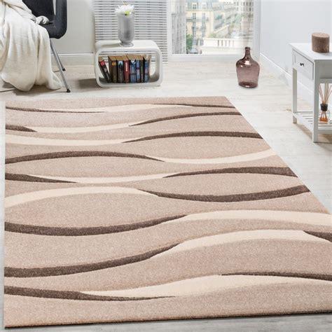 tapis moderne salon poils ras vagues design beige cr 232 me