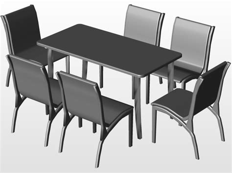 DINING TABLE AND CHAIRS 3 | 3D CAD Model Library | GrabCAD