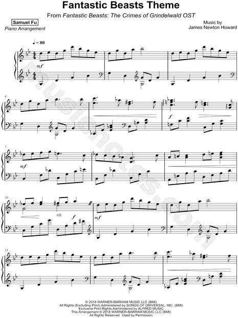 samuel fu fantastic beasts theme sheet  piano solo