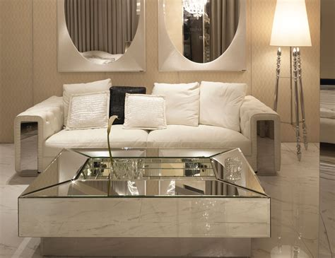 Mesmerizing Mirrored Coffee Table with Glass and Wood Combined: Furniture Modern Minimalist