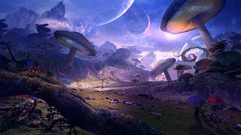wallpaper fantasy world planet mushrooms art picture