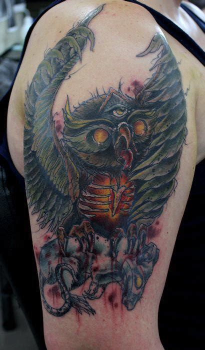 angry owl tattoo  mel wink