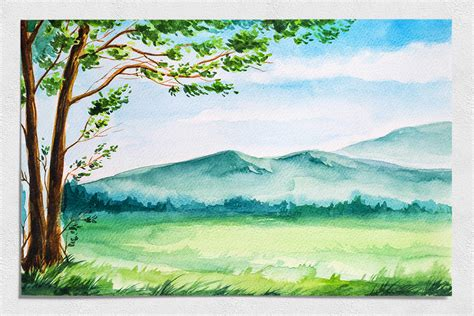 Spring Landscapes Watercolor By Alex Green
