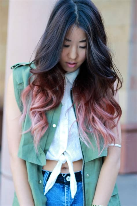 Faded Pink Dip Dyed Hair Colors Ideas