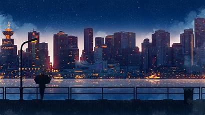 Anime Night Rain Sky Umbrella 5k Lights