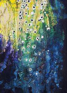 Abstract watercolor painting; Hawaii, United States of ...