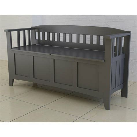 Accent Storage Bench by Wood Storage Bench Entryway Modern Accent Gray Hallway