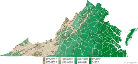 virginia physical map  virginia topographic map