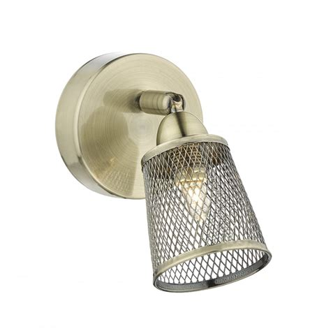 dar lighting lowell single wall light with mesh shade in antique brass finish low0775 arrow